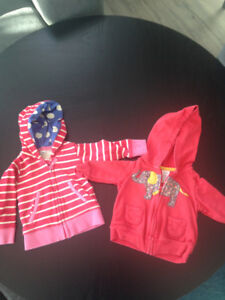 Two Little Girls Hoodies, $5 for both, size 3 month