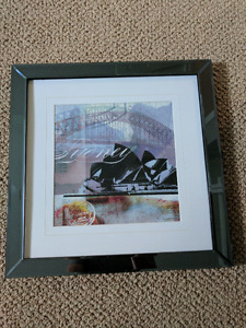 Framed picture of Sydney opera house and harbour bridge