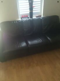 Leather sofa black 3 seater