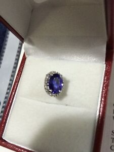 NEW WHITE GOLD VIOLET NATURAL TANZANITE PENDENT