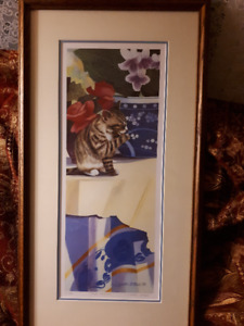 Janette ONeil cat print signed and numbered Table Manners