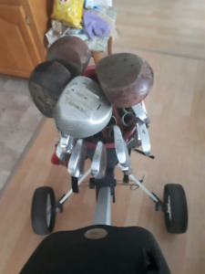 right hand Slayemgers Paragon golf clubs golf bag and golf cart