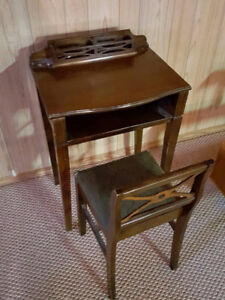 Antique Vintage Small Telephone Table Desk and Chair