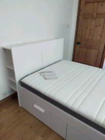 Double bed with storage headboard and mattress