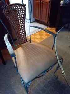 Chaise wrought iron fer forgé ostrich leather chairs