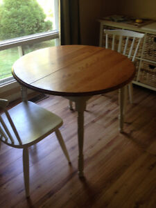 SOLID WOOD TABLE & TWO CHAIRS FOR SALE