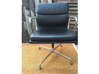 Genuine Eames Soft Pad Office Chair (EA 208, black leather)