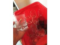 Box of 17 glasses - wine and tumblers.