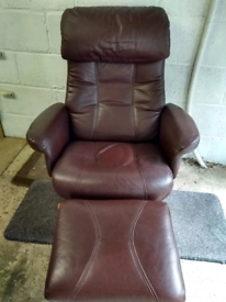 Genuine Leather Swivel Recliner Chair with Footstool