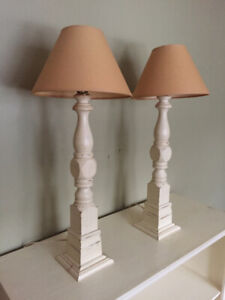 A Pair of Vintage Shabby Chic Lamps