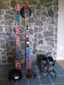 Line park and trail skis, boots, k2 helmet, Smith goggles