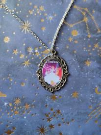 Disney Vintage Cinderella Poster Silver Charm Necklace