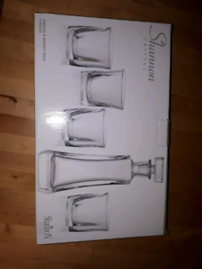5 piece Shannon Cristal whisky decanter set .
