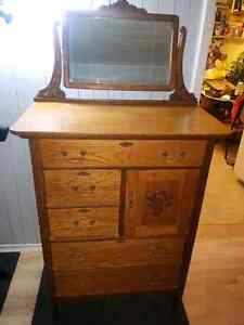 Beautiful antique oak tall boy dresser