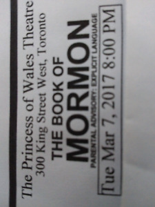The Book of Mormon 2 tickets March 7