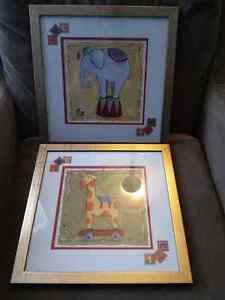 2 frames nursery pictures Cambridge Kitchener Area image 1
