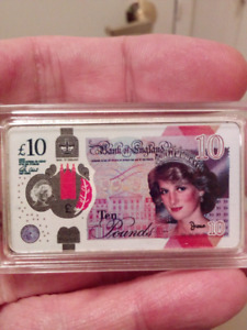 50mm Princess Diana 10 Pound Bank of England Ingot Bar.