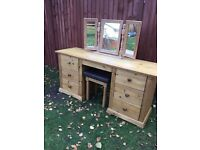 Waxed pine dressing table, stool and triple mirror