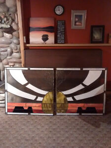 2 matching stained glass panels