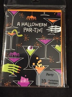 HALLOWEEN PARTY INVITATIONS Par-Tini Invites Hallmark Adults Fun NEW - Adult Halloween Party Invitation