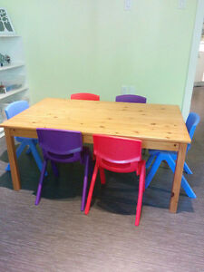 Solid Pine Table with 6 Toddler Chairs