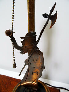 1930s COPPER FIGURAL LAMP charming MAN with AXE oak base CUPCAKE Kitchener / Waterloo Kitchener Area image 1