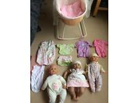 Baby dolls, bed and clothes