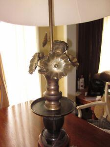 Antique Bronze Art Nouveau Table Lamp with Lotus Flowers
