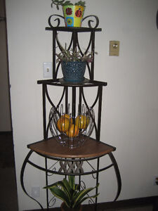 Wrought iron corner plant stand or bakers shelf