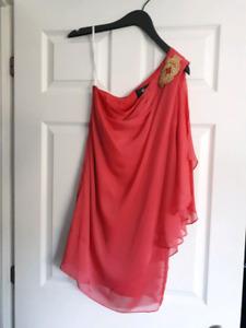 Coral one shoulder embelisshed dress