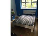 White Wooden Slatted Bed and Mattress