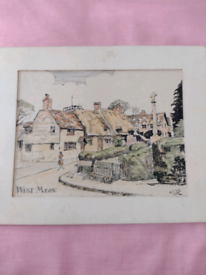 Vintage Signed Watercolour of a Village in West Meon. Can be viewed!!