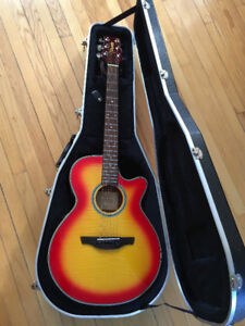 Takamine Acoustic-Electric Guitar - Red/Yellow Flame Top