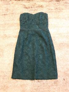 J Crew Green Strapless Lace Bridesmaid Dress 0