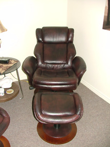 2 leather recliner with matching stools