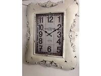 White metal carved decorative square clock