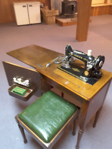 Singer Sewing Machine With Cabinet & Stool