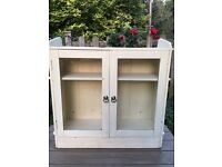 French Glass Fronted Antique Old Pine Cabinet Original Cupboard Kitchen Bathroom