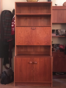Mid-Century Modern Teak Wall Unit with Fold-Down Bar
