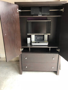 Wood Entertainment/Storage Closet Armoire with 2 Pullout Drawers