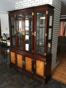 Beautiful Lighted China Cabinet and Hutch