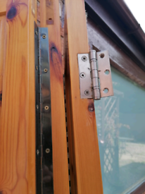 Trifold solid pine doors, 3 fold.