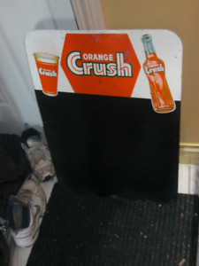 RARE ORIGINAL 1950'S ORANGE CRUSH TIN MENUBOARD SIGN!