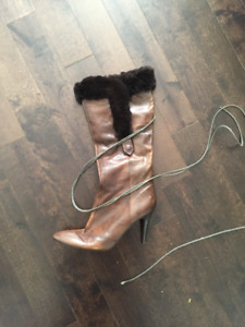 Sexy Nine West Leather Boots with Fur