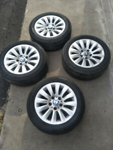 "16"" BMW mags with new centre cap, 205-55-16 summer tires"