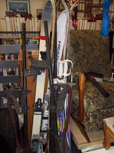 Downhill Skis, Boots, Poles, and Car Rack