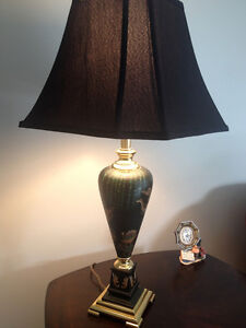 Hand Painted Peacock Black Table Lamp