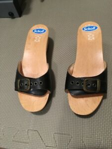 Women's Size 5 Black Leather Scholl Sandals