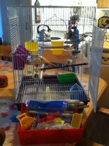 belle cage a oiseau tout équipée