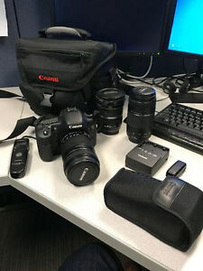 Canon EOS 7D DSLR with 3 lenses, flash and remotes